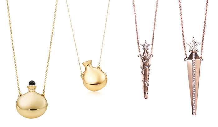 Left Elsa Peretti for TiffanyCo gold perfume bottle pendants right Diane Kordas Amulette collection pendants 700
